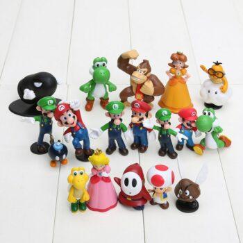 Super Mario Bros – Mario, Luigi, Princess Peach, Yoshi, Donkey Kong, Shy Guy 18pcs/set Action figures (3-7cm) Action & Toy Figures