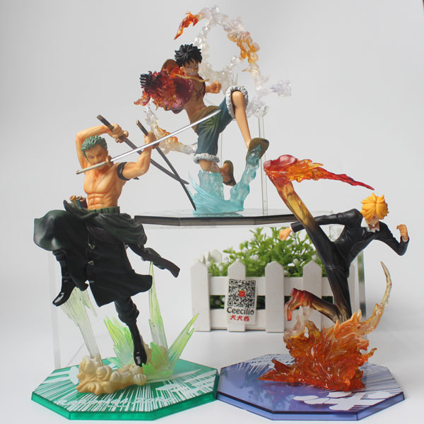 One Piece – Luffy, Zoro, Sanji Battle Ver. Action Figures (15cm) Action & Toy Figures