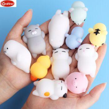 Cute Mini Soft Silicone Mochi Squishy Animals (12 Types) Dolls & Plushies