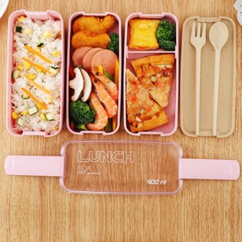 Bento 3 Layer Healthy Wheat Straw Lunch Box (3 Colors) Lunch Boxes