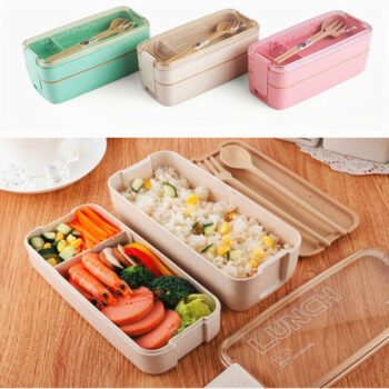 Bento 2 Layer Healthy Wheat Straw Lunch Box (3 Colors) Lunch Boxes