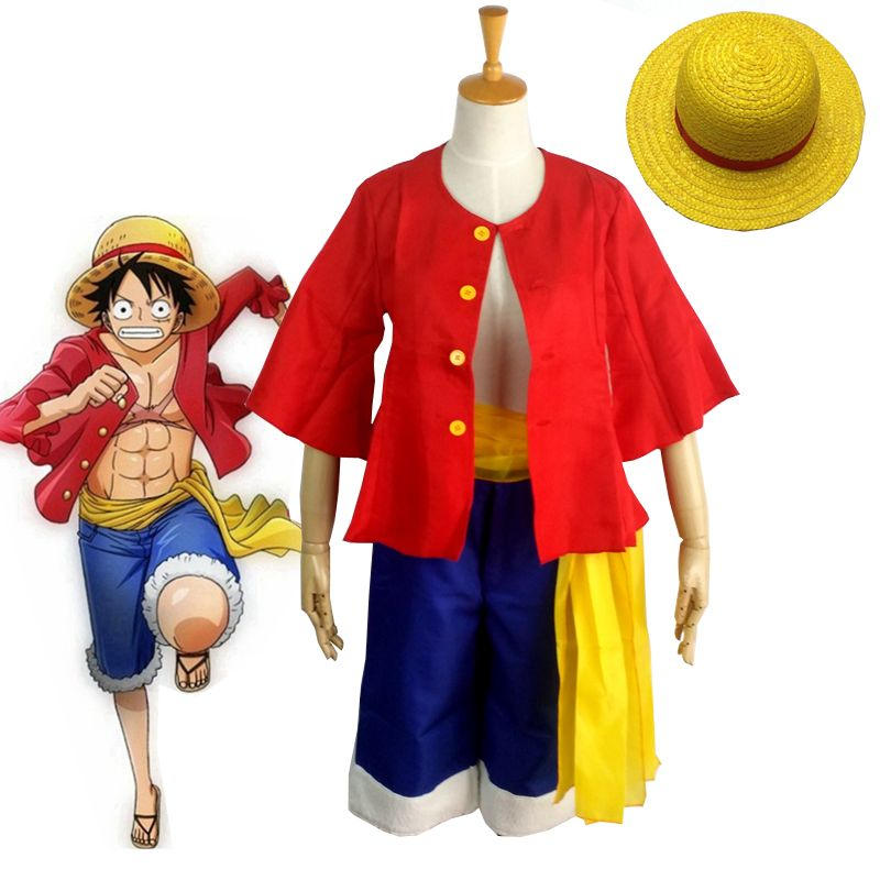 One Piece Cosplay Costumes Monkey D Luffy 1st Cosplay T Shirt Clothes Pants Hat Uniform For Children Kids Halloween Costumes
