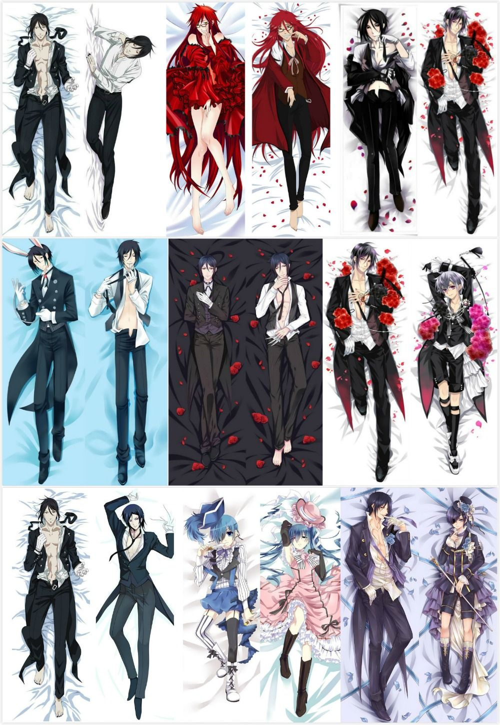 Dakimakura Black Butler Kuroshitsuji Sebastian Michaelis Hug Body Pillow Cases