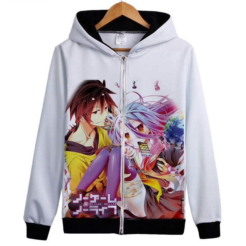 No Game No Life – Sora, Shiro, Jibril and Hatsune Zip-Up Hoodie (30 Styles) Hoodies & Sweatshirts