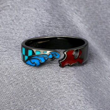 Demon Slayer – Red and Blue Finger Ring Rings & Earrings