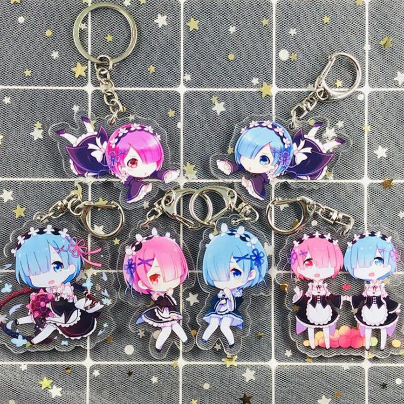 Re:Zero − Starting Life in Another World – Ram and Rem Keychains (9 Designs) Keychains