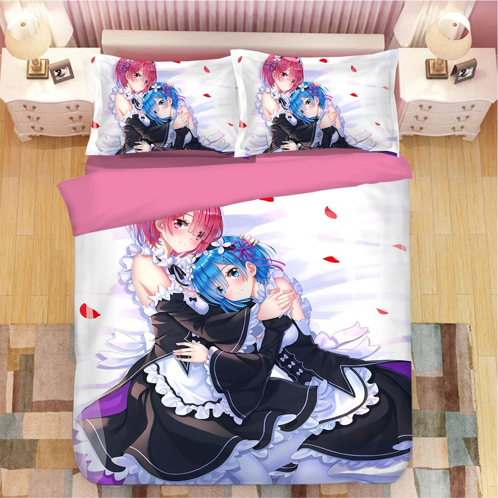 Re:Zero – Starting Life in Another World – Ram and Rem Complete bedding Set (20+ Designs) Bed & Pillow Covers