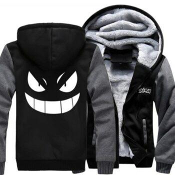 US size for Men Women Hoodies Anime Pocket Monster Gengar Jacket Sweatshirts Thicken Hoodie Zipper Coat Uncategorized