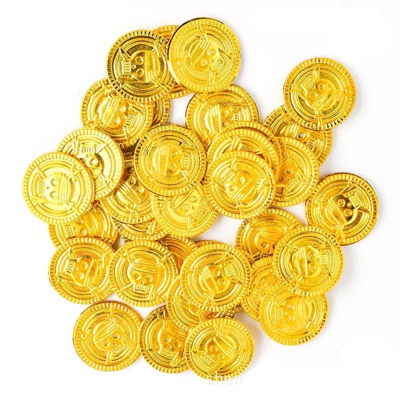 Cyuan 50Pcs Plastic Gold Treasure Coins Pirate Gold Coins Props Toys Halloween Decoration Kids Birthday Party Props Accessories