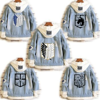 Attack on Titan – Different Characters and Scouts themed Denim Jackets (15+ Designs) Jackets & Coats