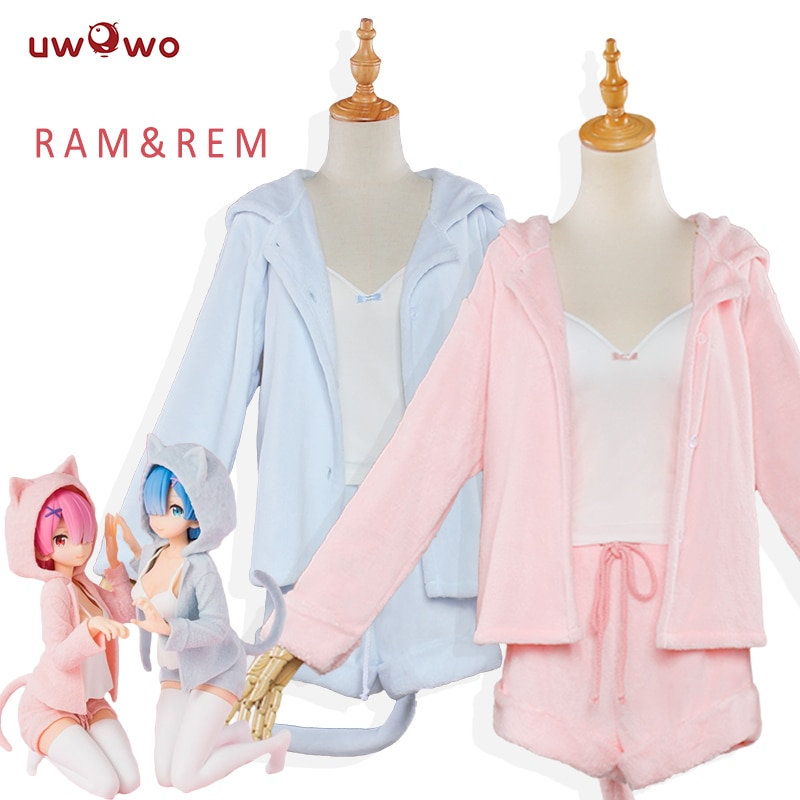 Re:Zero − Starting Life in Another World – Ram and Rem Cat Themed Cute Light Hoodie with Pajama (Whole Suit) Cosplay & Accessories