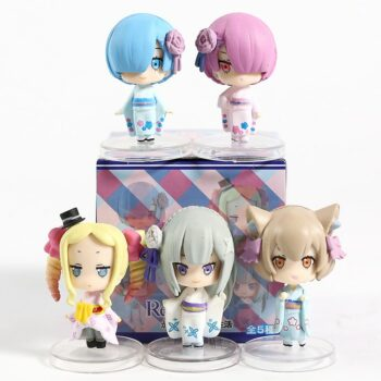 Re:Zero − Starting Life in Another World – Set of Different Female Characters Action Figures (5 Pcs) Action & Toy Figures