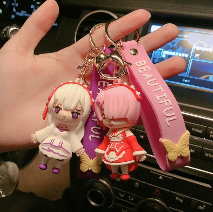 Re:Zero − Starting Life in Another World – Ram, Rem, Emilia Cute Figure Keychains (4 Designs) Keychains