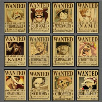 One Piece – Different Characters Wanted Style Wall Posters (15+ Designs) Posters