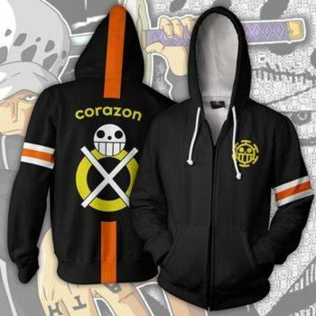 One Piece – Corazon themed Zip Hoodie Hoodies & Sweatshirts