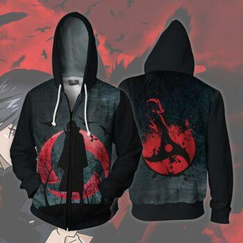 Naruto – Itachi Uchiha Sharingan themed Zip Hoodie Hoodies & Sweatshirts