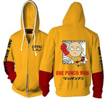 One Punch Man – Saitama Flying Style Zip Hoodie Hoodies & Sweatshirts