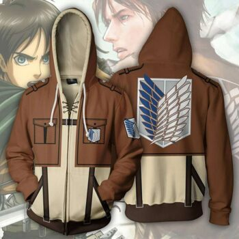 Attack On Titan – Eren Yeager themed Zip Hoodie Hoodies & Sweatshirts