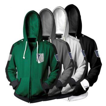 Attack on Titan – Survey Corps Themed Zip Hoodies (5 Colors) Hoodies & Sweatshirts