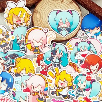 Different Cute Anime Girls Pack of Waterproof Stickers (40 Pieces) Posters