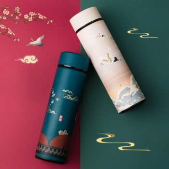 Japanese Traditional Designs Themed Smart Water Bottles with LED Display (20+ Designs) Mugs
