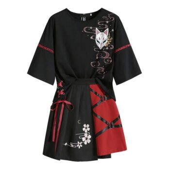 Japanese Culture Red Ribbon Themed T-Shirt and Skirt for Women (Different Sizes) Cosplay & Accessories