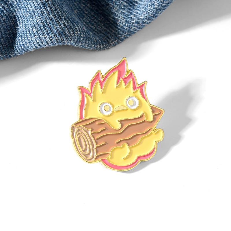 Howl's Moving Castle – Calcifer Themed Cute Badge Pendants & Necklaces
