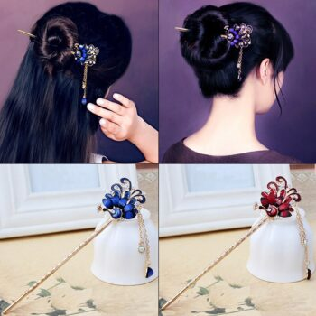 Japanese Styled Peacock Themed Luxurious Hairpins (6 Designs) Cosplay & Accessories