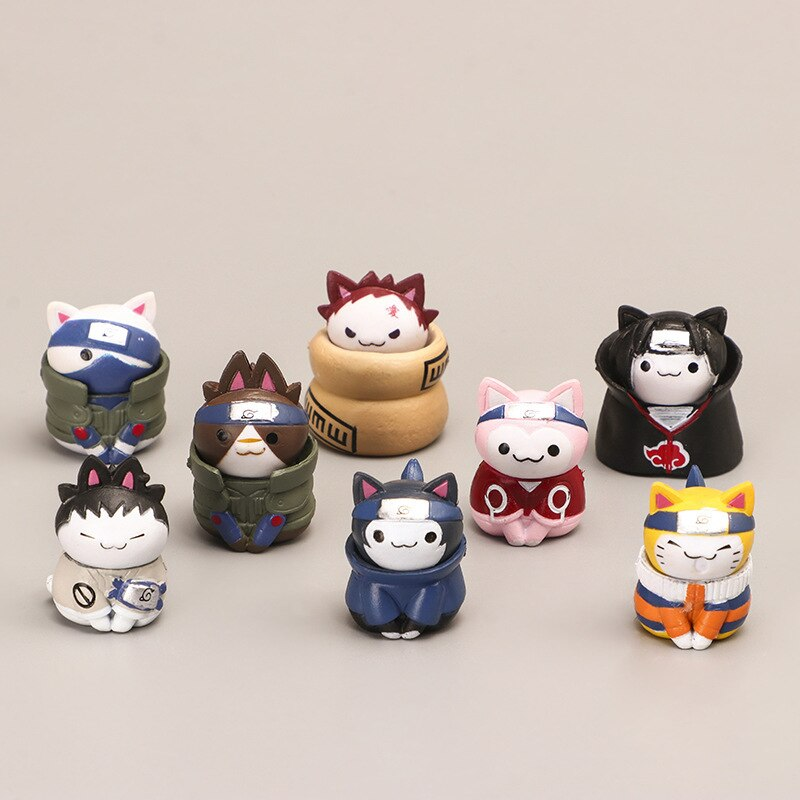 Naruto – All Amazing Characters Cat Themed Set of Action Figures (8 Pieces) Action & Toy Figures