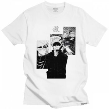 Funny Japanese Manga Satoru Gojo Jujutsu Kaisen Tshirt Men Round-neck Short-Sleeve Casual T Shirt Soft Cotton Slim Fit Tee Gift Uncategorized