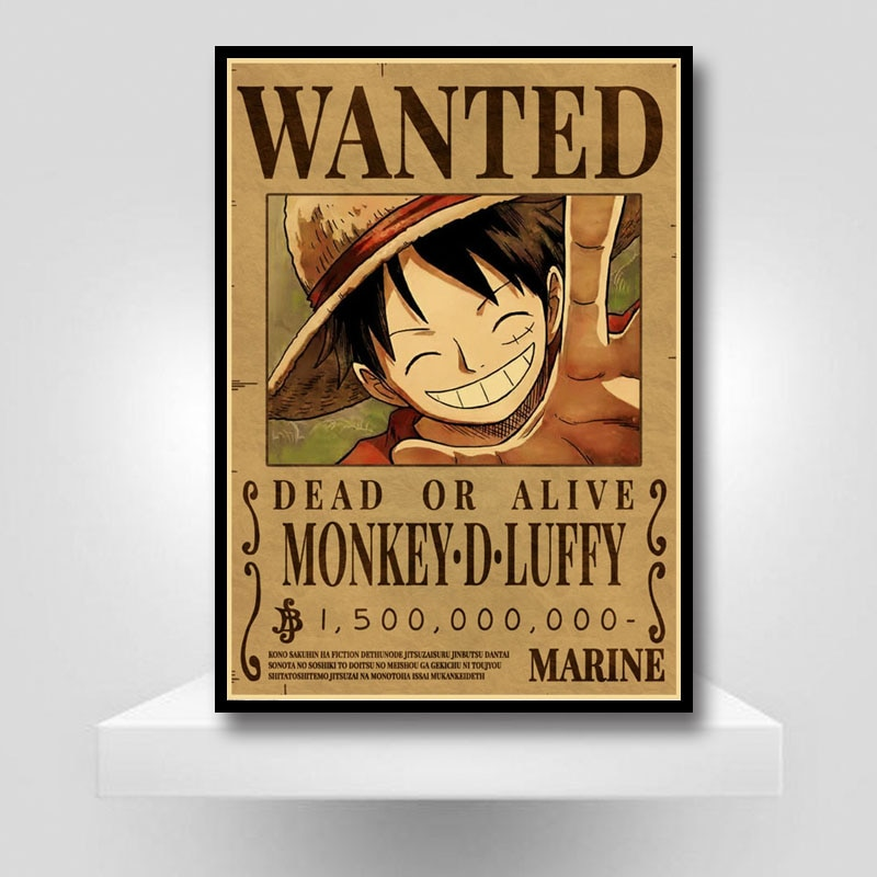 Home Decor Wall Stickers Retro Kraft Paper One Piece Wanted Posters Anime Luffy Poster and Prints Bar Cafe Decorative Painting Uncategorized