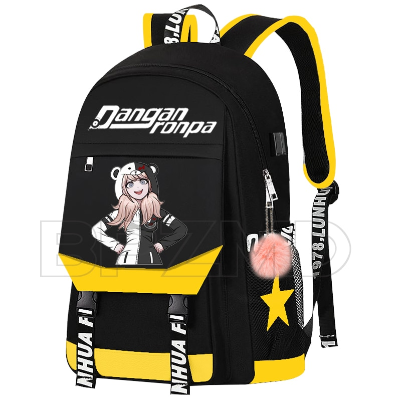 Anime Danganronpa Junko Chain Backpack For Women Men USB Charge Canvas Student Mochilas For Teenagers Boys Girls School Bags Uncategorized