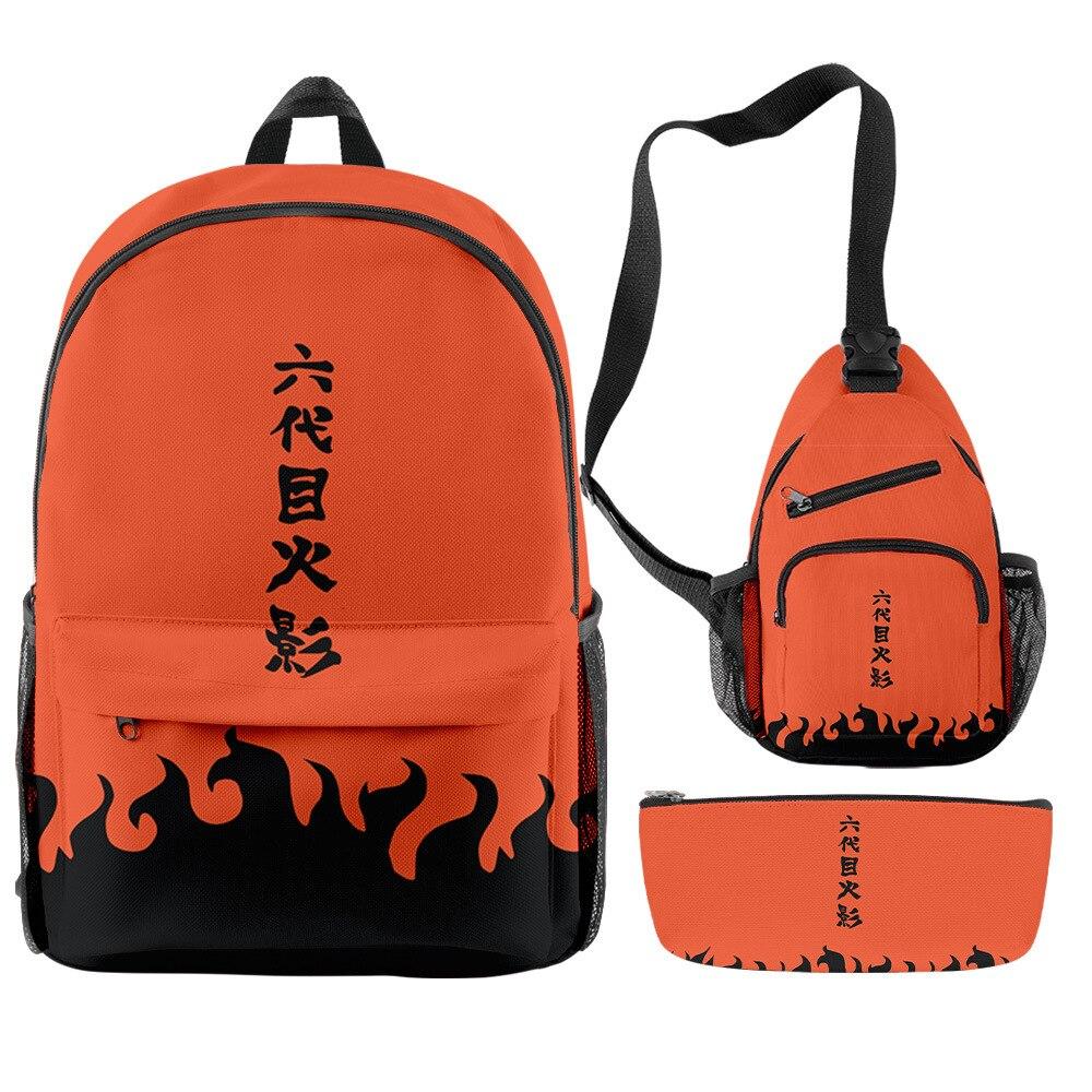 Backpack 3 Piece Set Japan Anime Naru to 3D Printed Oxford Waterproof Large Capacity Teenager Boys Girls Students Scholol Bag Uncategorized