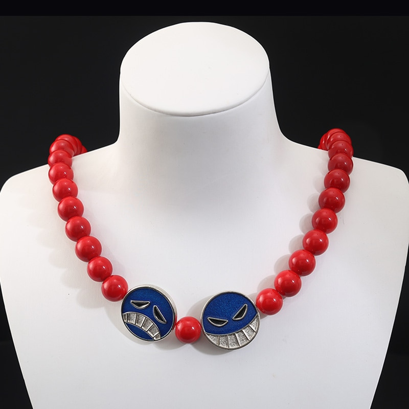 Anime One Piece Portgas D Ace Red Beads Necklace White Beard Pendants Necklaces Cosplay Props Charm Jewelry with Box Uncategorized