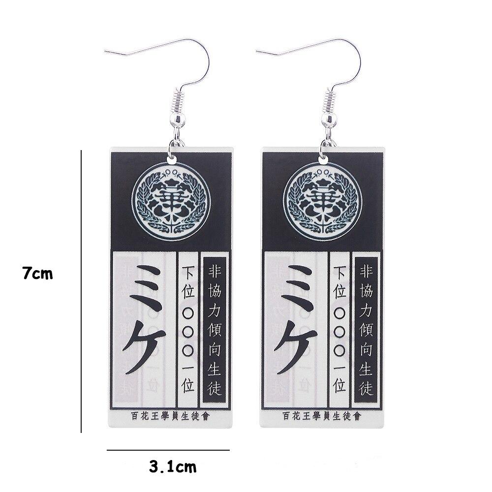 Anime Kakegurui Cosplay Earrings Jabami Yumeko Saotome Meari ID Card Acrylic Pendant Jewelry Gifts Uncategorized
