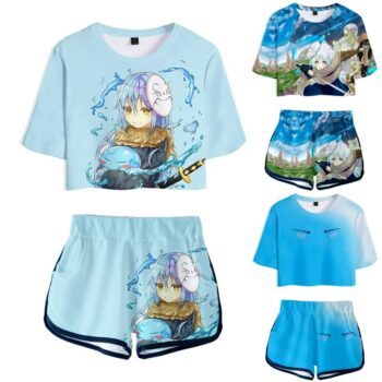 Anime That Time I Got Reincarnated as a Slime Cosplay Costumes Short Sleeve T shirt Shorts Sport Suits Tees Running Sets Women Uncategorized